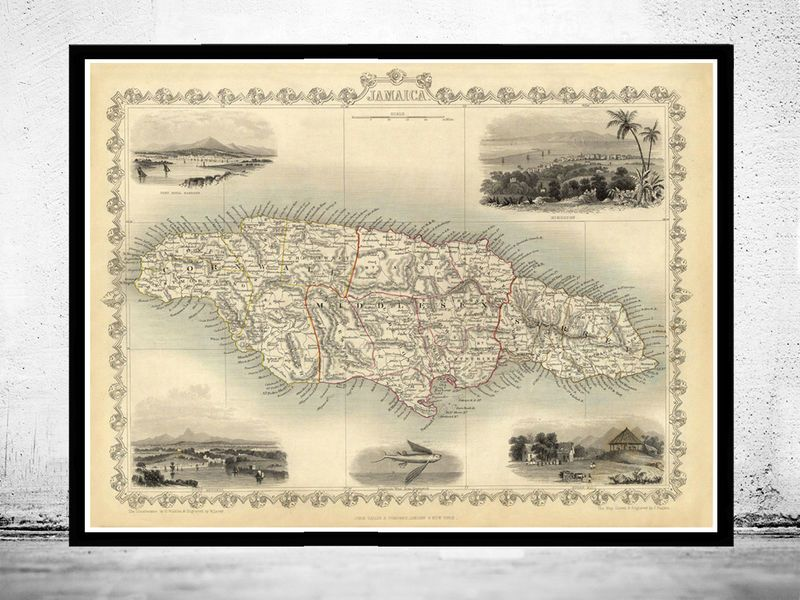Vintage Old Map Of Jamaica Antique Map Of Jamaica Pinterest - Vintage map of jamaica
