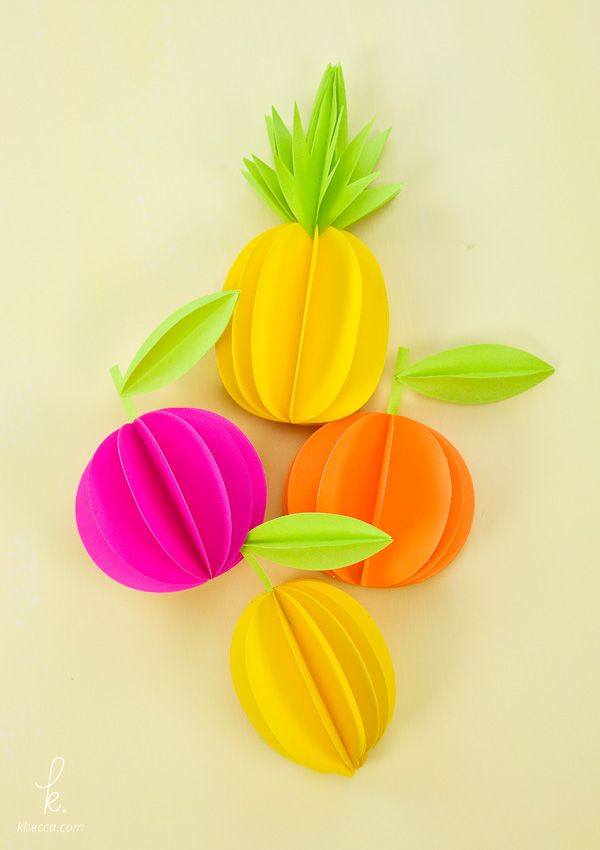 3d paper pineapple citrus fruits free templates included