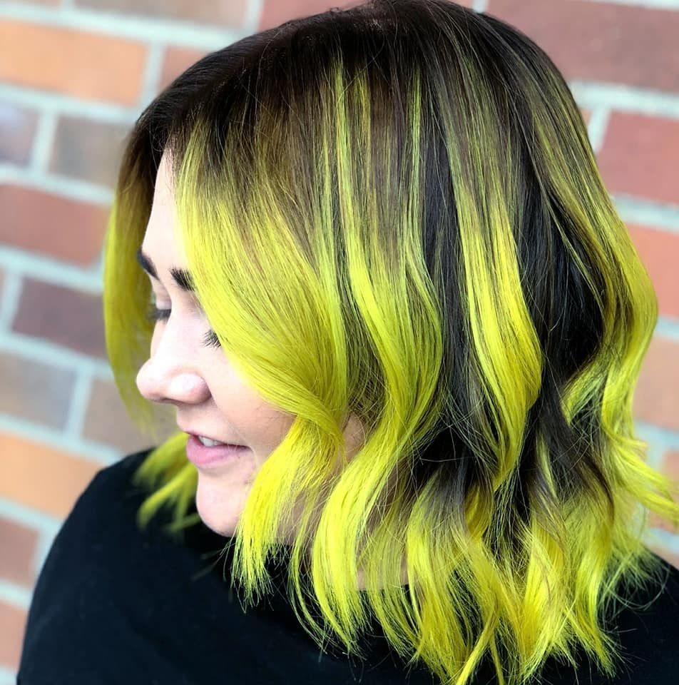 Neon yellow,green balayage using joico color intensity