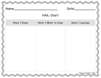 Kwl Chart For All Grades  Free Reading Resources Tpt