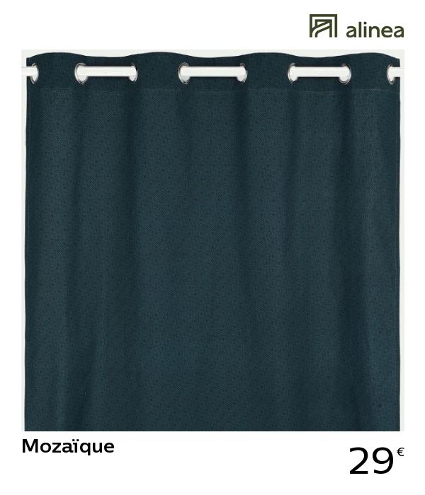 Alinea Mozaïque Rideau Imprimé Bleu 140x250cm Décoration
