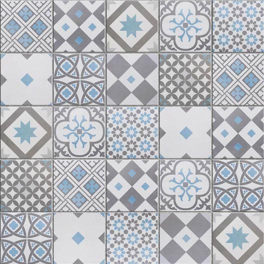 Mosaique Sol Et Mur Gatsby Decor Gris Et Bleu 6 17 X 6 17 Cm Cocinas Con Mosaico Baldosas