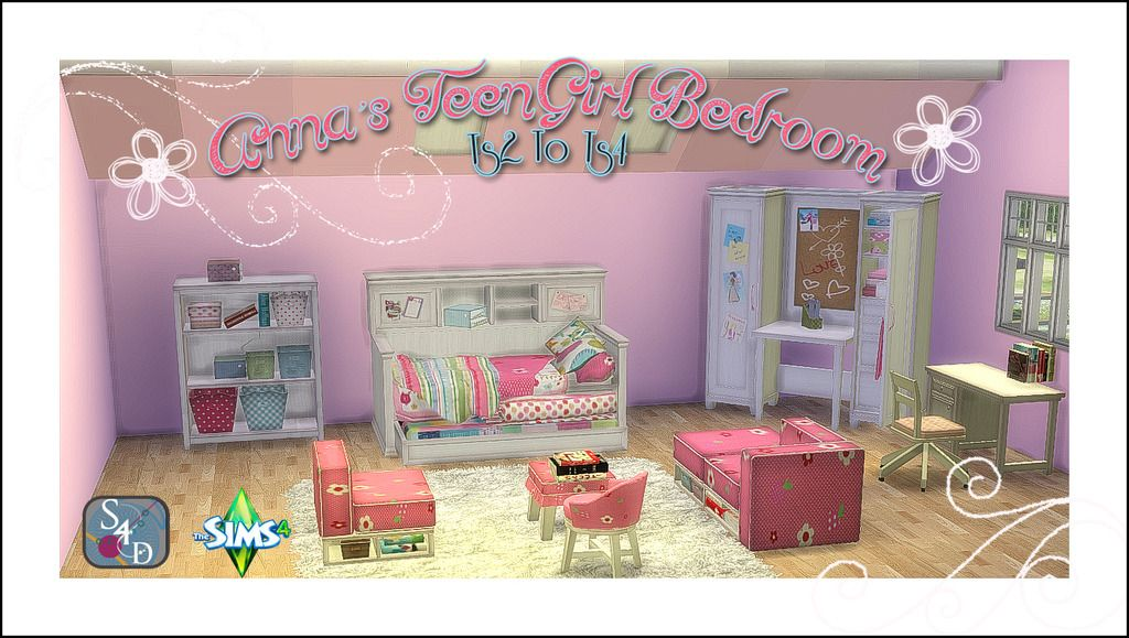 Ts2 to ts4 anna 39 s teen girl bedroom sims 4 designs for Bedroom designs sims 4
