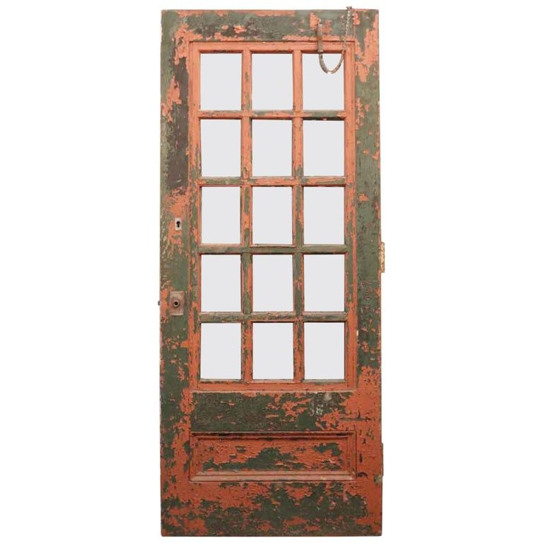 1930 Painted Wooden Exterior Industrial French Door With 15 Mixed Glass Panes In 2020 Wooden Doors Wood Exterior Door Entry Doors With Glass