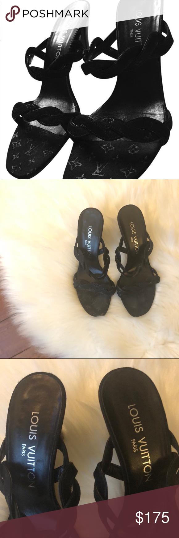 8bd29d3a194c Louis Vuitton black monogram strap sandals 5.5