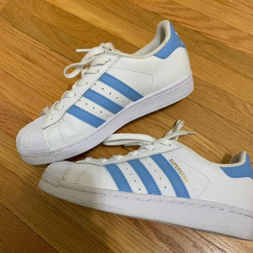 Adidas superstar with light blue