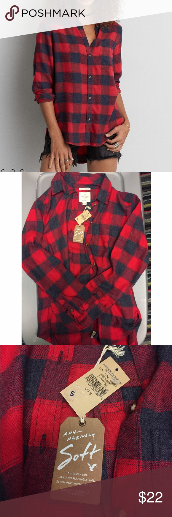 AEO Ahh-mazingly Soft Boyfriend Flannel Shirt This American Eagle Outfitters flannel is brand new with tags. It's a button down flannel with red and black checkered print. It truly is amazingly soft! Women's size small. Originally about $45. American Eagle Outfitters Tops Button Down Shirts