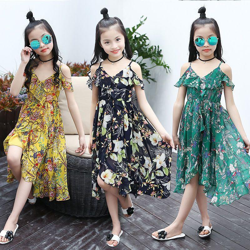 32ca75a1a9b8 2018 Summer Kid Girls Princess Maxi Dress Floral Bohemian Chiffon Beach  Clothes #EFA2Z #MaxiDress # ...