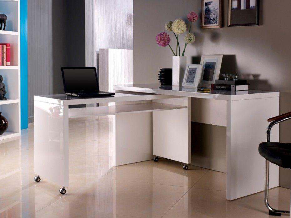 Bureau amovible stephen mdf laqué coloris blanc quai koch