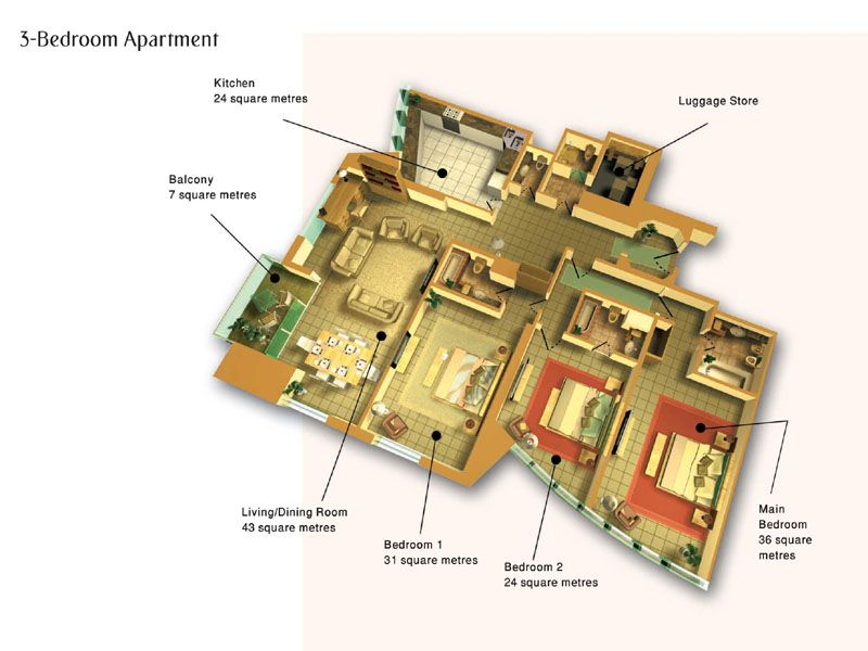 Luxury Apartment Floor Plans 3 Bedroom: 3-bedroom, 3bath Luxury Housing -- Dubai Marriott Harbour
