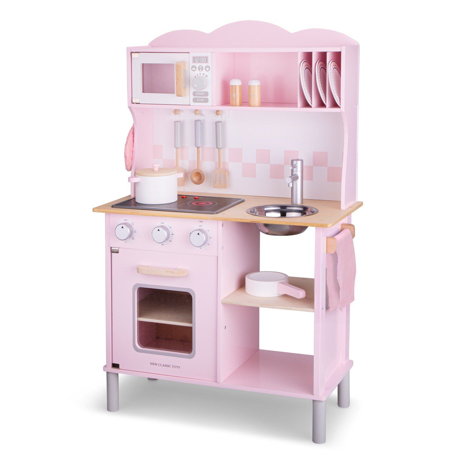 New Classic Toys Wooden Kitchen Modern Electric Cooking Pink …