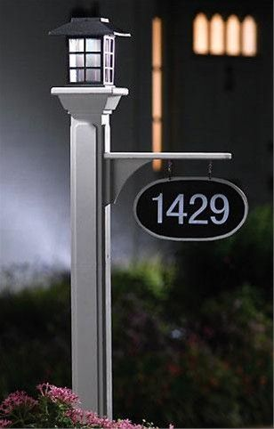 Lamp post with address solar lamp post with hanging for Location plaque garage