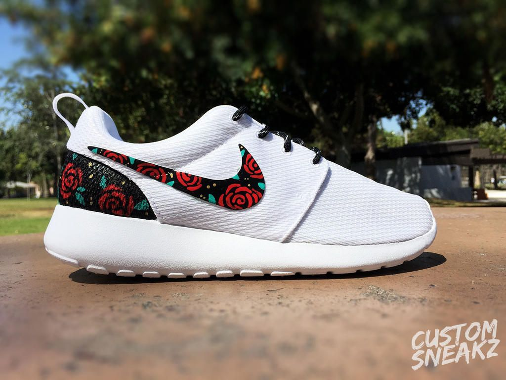 factory price 62c76 dfc03 Womens Custom Nike Roshe Run sneakers, Rose Gold design, Red Roses with  teal leaves and gold speckles, Custom roshe run roses