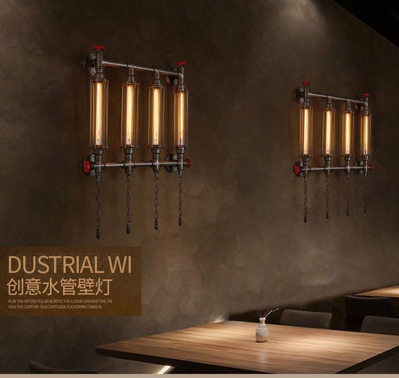 Steampunk Pipe Caged Sconce Chain E27 Light Wall Lamp Valve Lighting ...