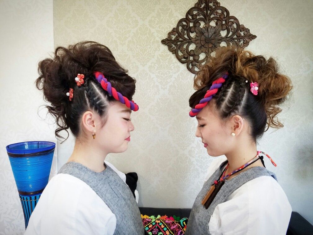 お祭りヘアセット モヒカン 編み込みアップ【2019】