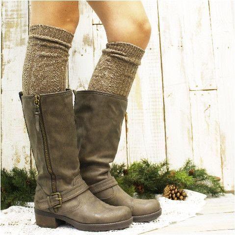 ALPINE tall knee socks - brown
