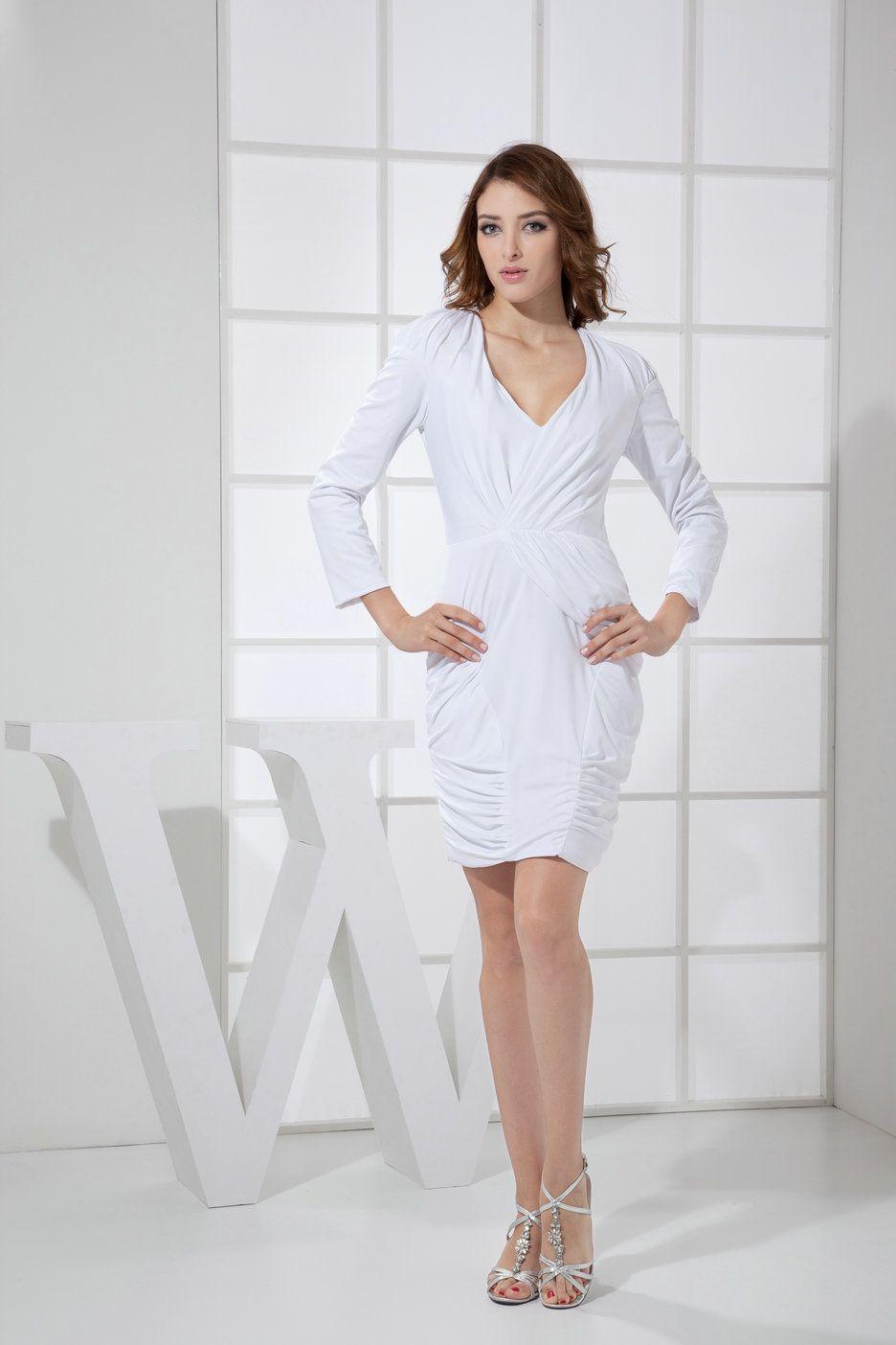 cd1eecdb45c Long Sleeves V Neck Mini White Graduation Dresses