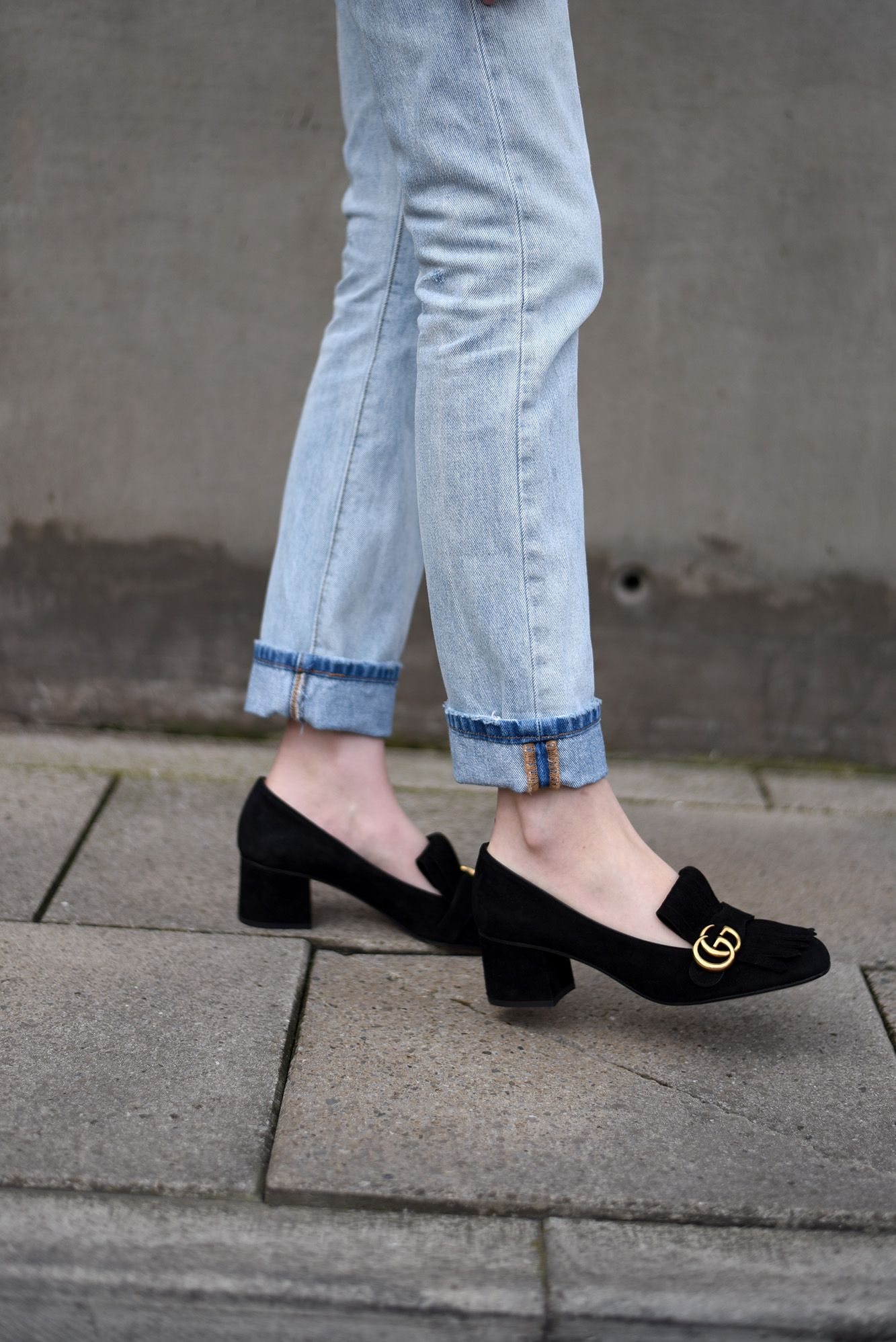 2161df06292 Gucci Suede Mid Heel Pump — Shot From The Street