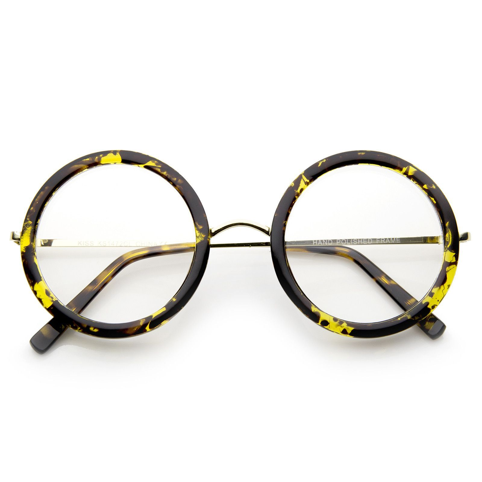 Lennon Retro Fashion Thick Frame Metal Temple Round Clear Lens Glasses 50mm 2d630d3d37ac