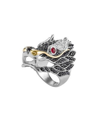 John Hardy Pave Naga Dragon Head Ring mj02ZET