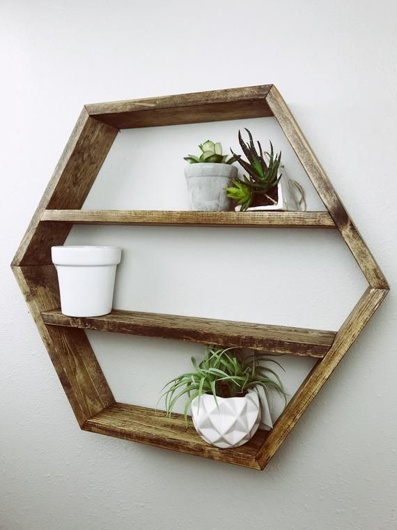 Photo of Honeycomb Shelf- Hexagon Shelf- Shelf- Dark Brown Shelf- Wood Shelf- Honeycomb- Hexagon