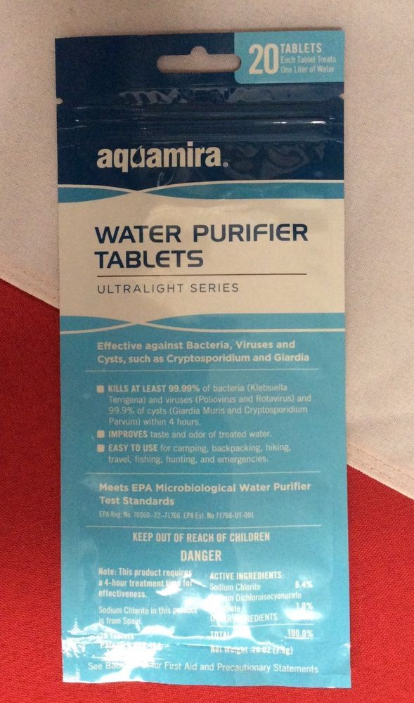 Aquamira Tablets Water Purifier Survival Navigation Emergency Disaster Tactical Disaster Kits Water Purifier Aquamira