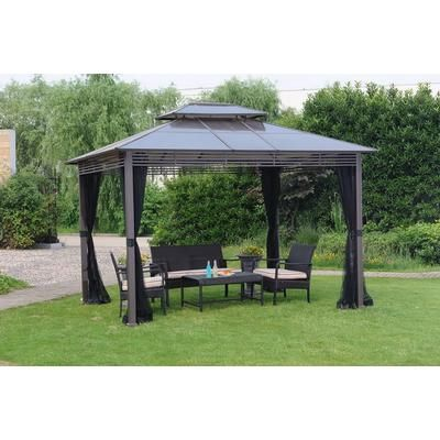 Hampton Bay Farrington Hard Top Gazebo 10x12 Feet L Gz669pst I Home Depot Canada Gazebo Pergola Gazebo Patio Gazebo