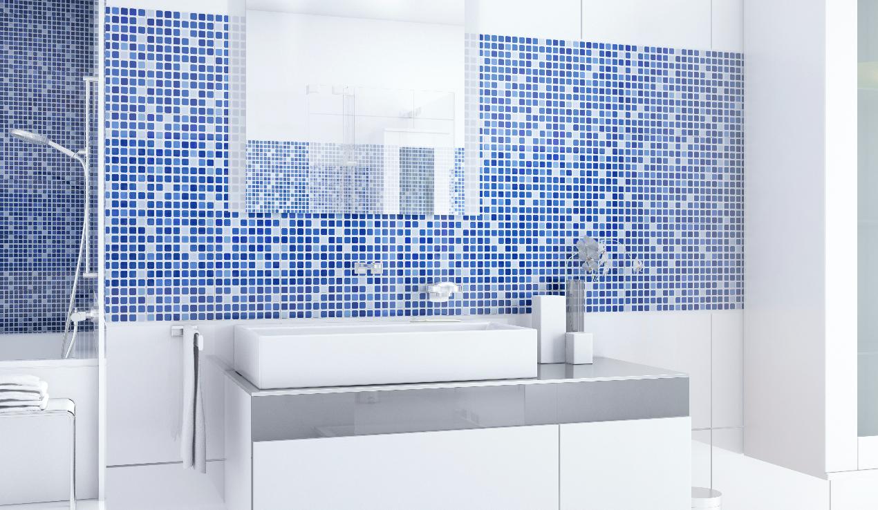 Chicago Azul Azulejo Mosaicos Celeste Blanco Lavamanos Bowl