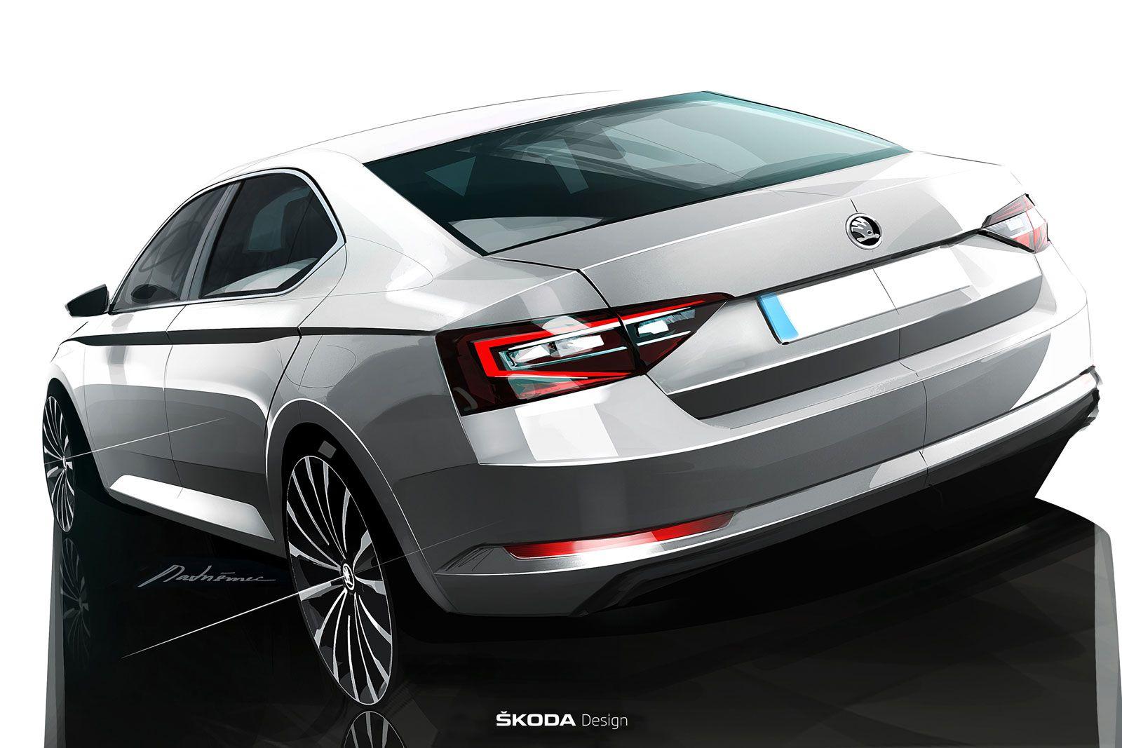 New Skoda Superb Design Sketch Skoda Superb Car Design Sketch
