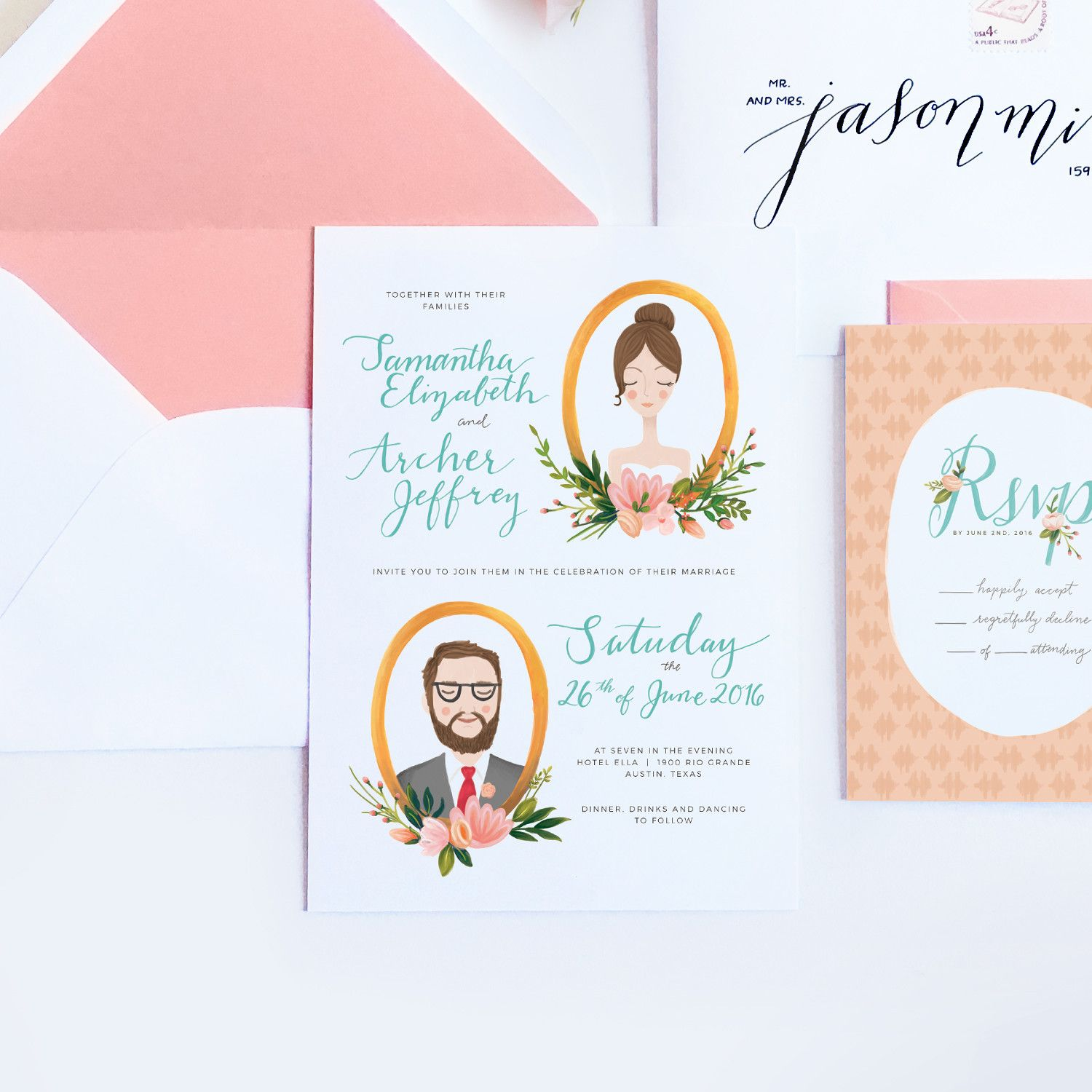 archer and olive wedding invitations and stationery design in austin texas - Wedding Invitations Austin Tx