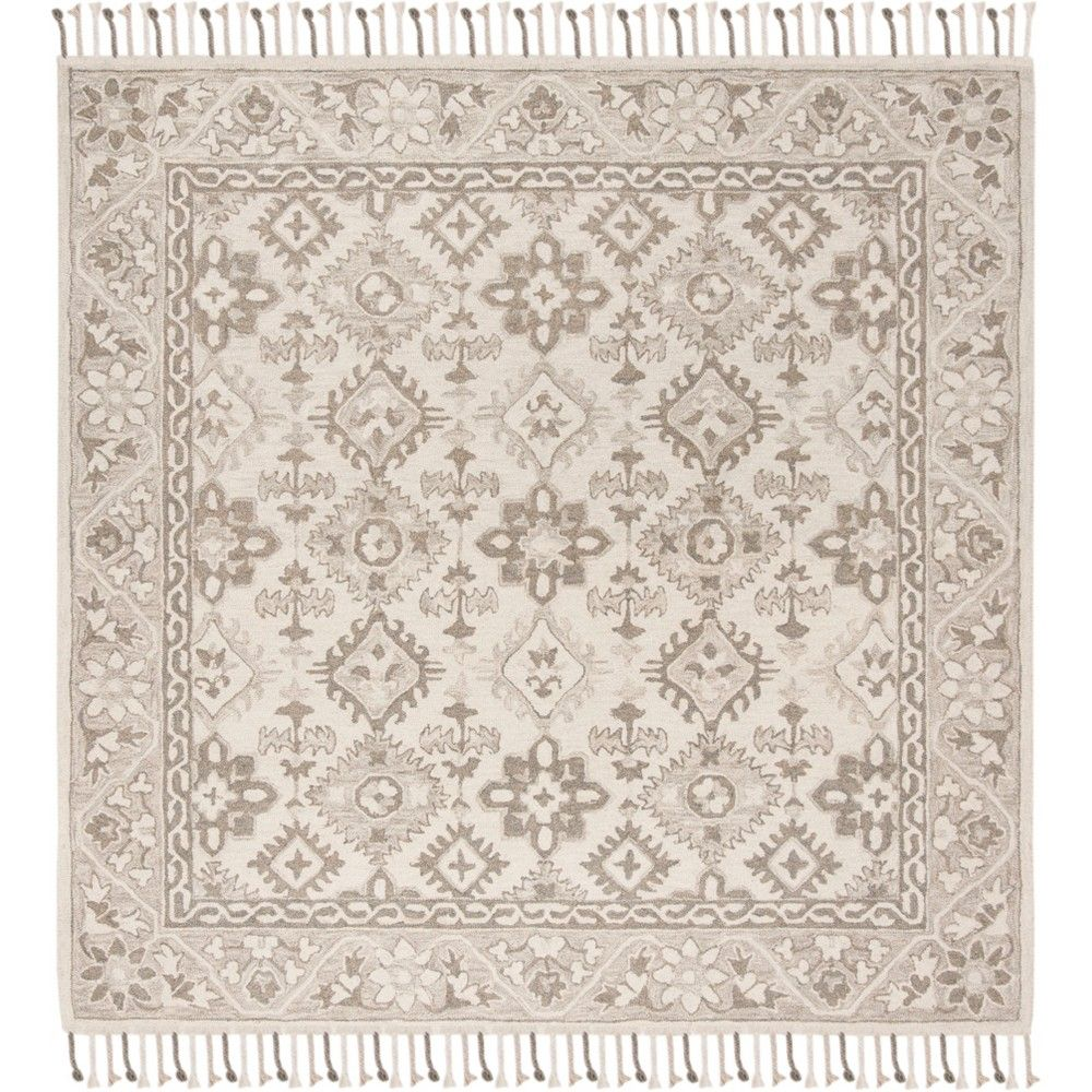 7'X7' Medallion Tufted Square Area Rug Gray - Safa