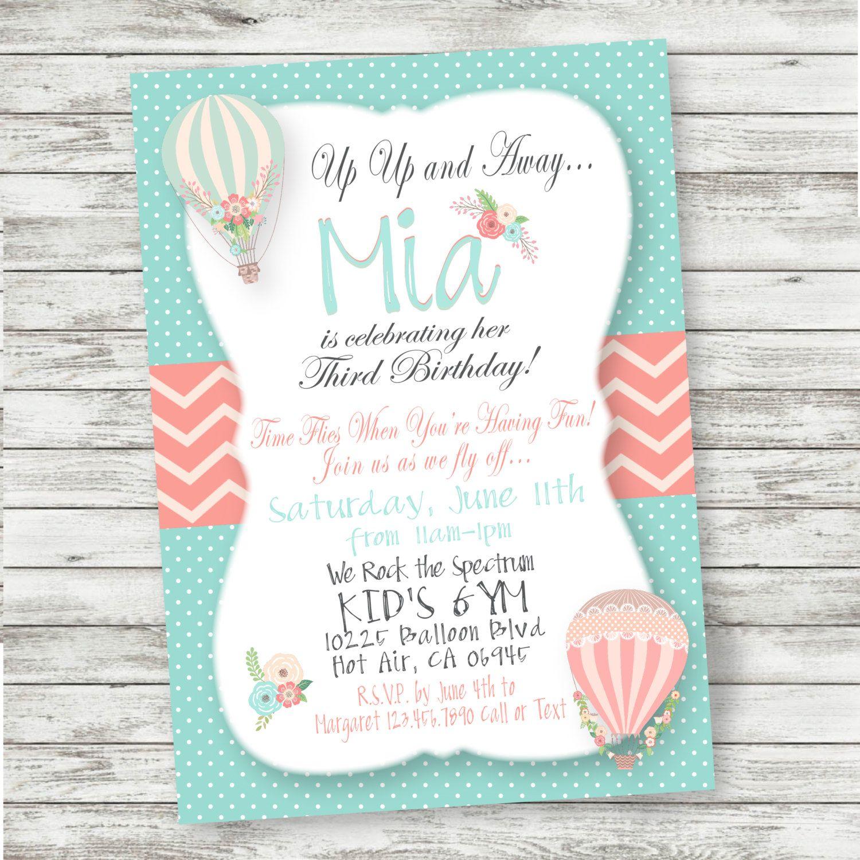 Hot Air Balloon Birthday Invitation - Shabby Chic - PRINTABLE ...