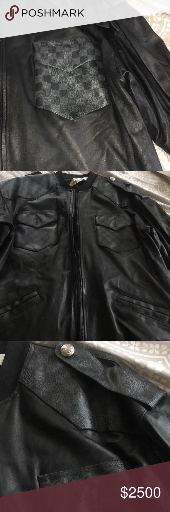 Men Louis Vuitton Leather Coat/Jacket Authentic Black