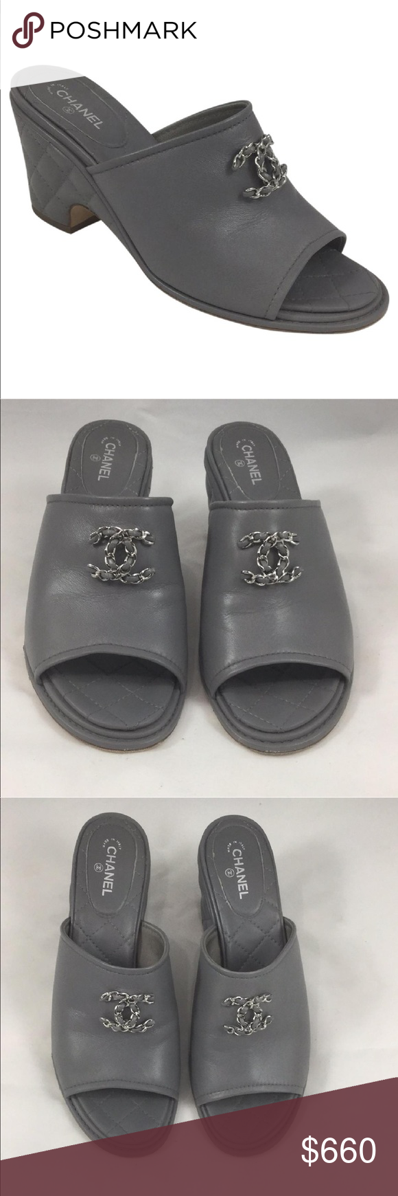 0d1c215468317a Chanel Gray Lambskin Quilted Mule Heel Chain 9 Beautiful gray lambskin  leather Mule by Chanel.