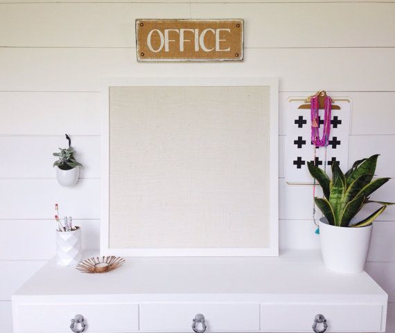 Square White Framed Burlap Bulletin Board, Memo Board, Office Decor ...