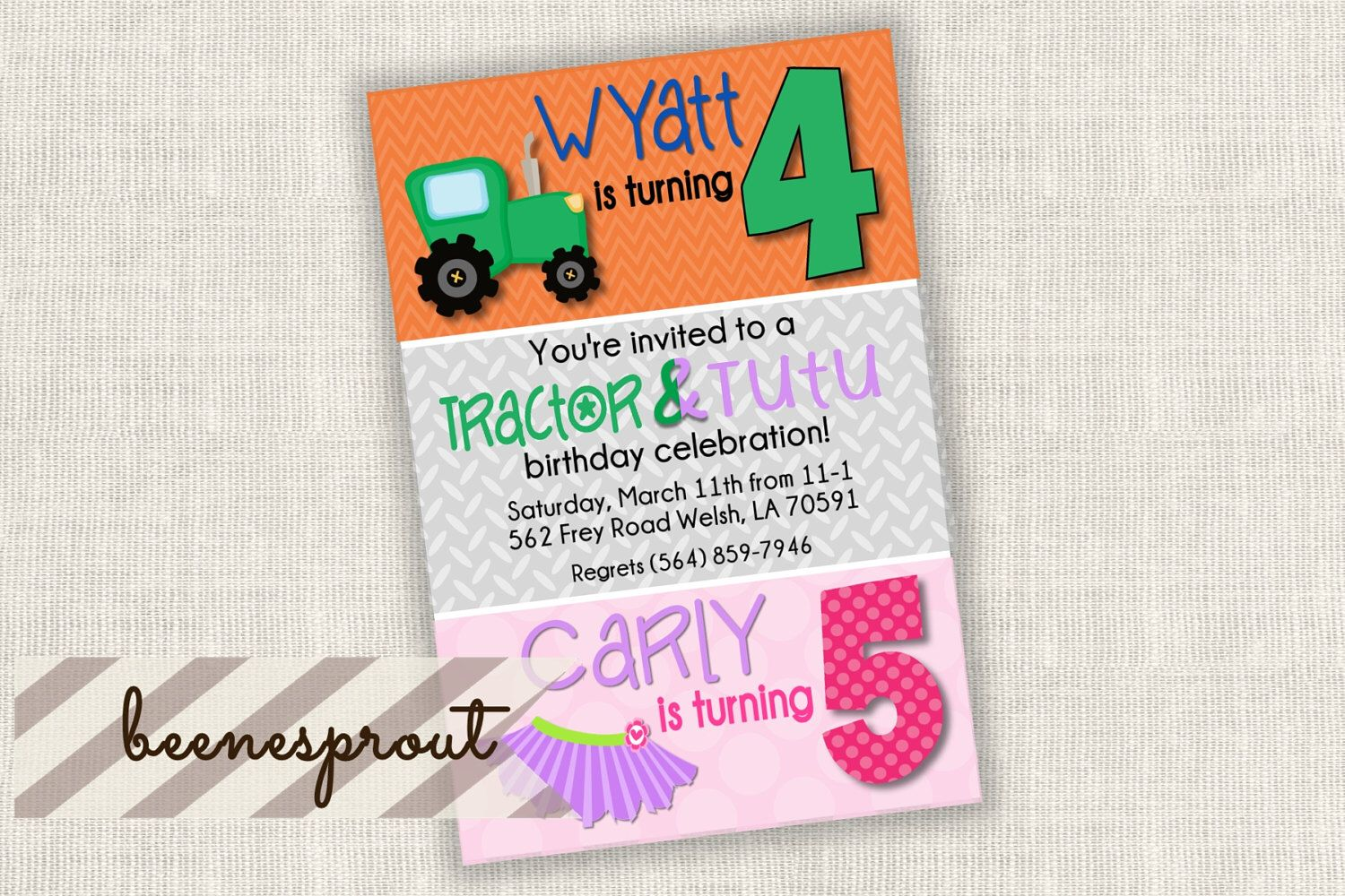 Tractor and Tutu Dual Double Birthday Invitation Boy and Girl, Twins ...