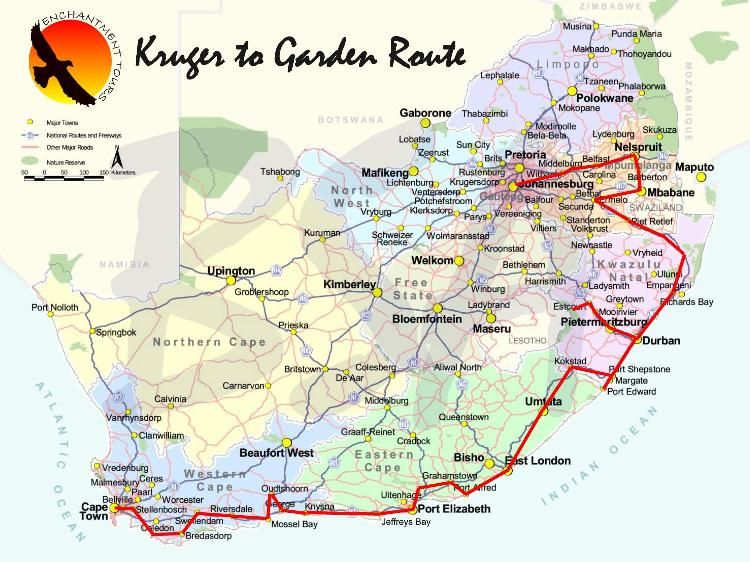 south africa map durban to cape town