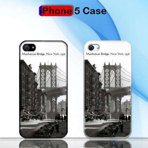 Vintage Manhattan Bridge 1936 Custom iPhone 5 Case Cover