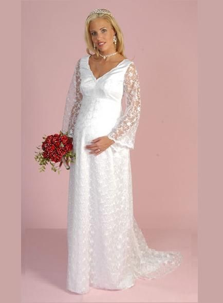 This Elegant Long Sleeves Satin And Lace Maternity Wedding Gown