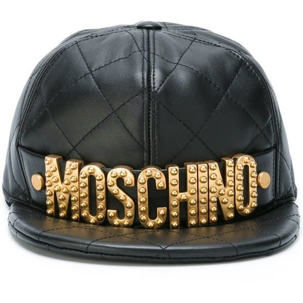 Moschino quilted logo plaque cap ( 660) ❤ liked on Polyvore featuring  accessories 0dc38e6341a