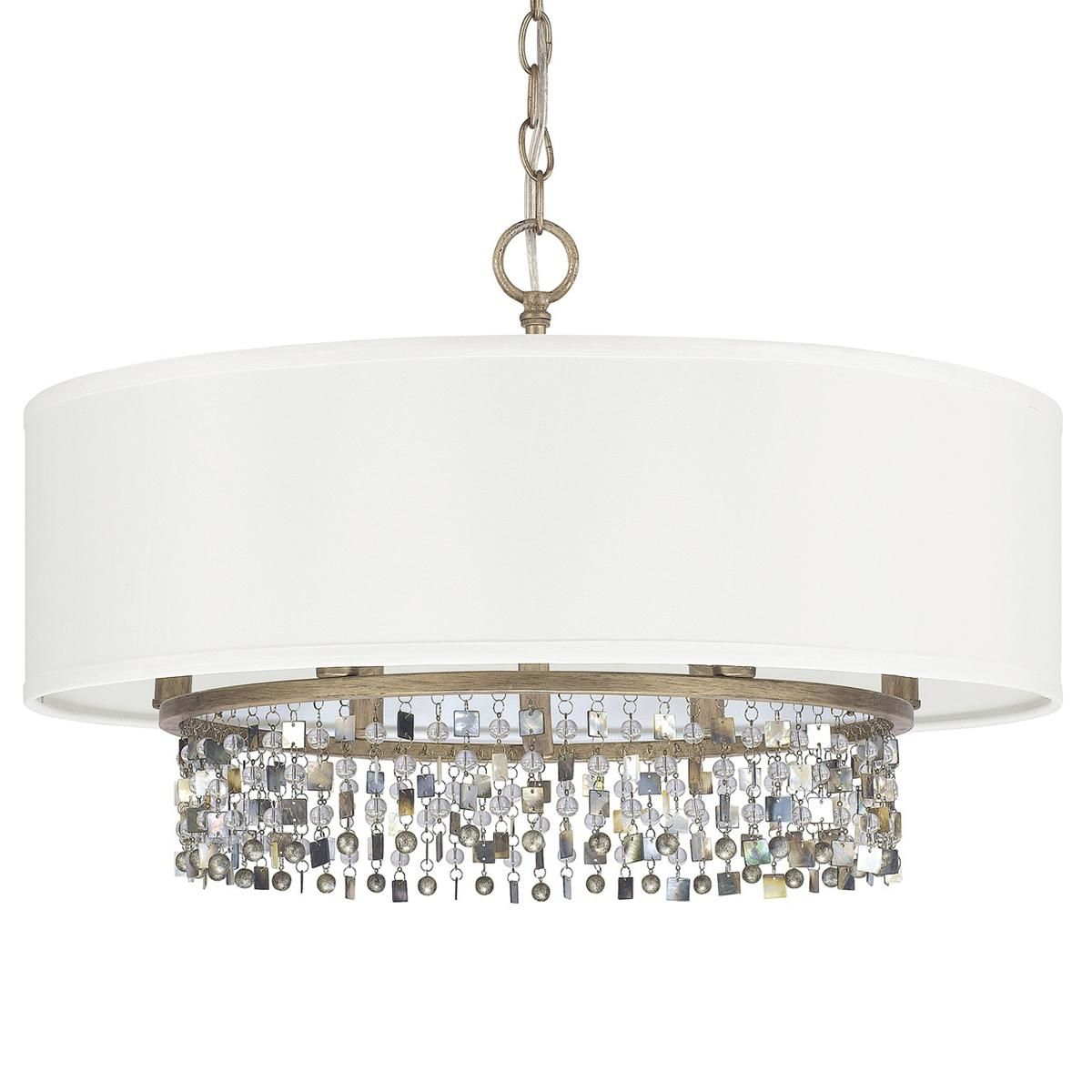 Shell And Crystal Drum Shade Chandelier Drum Shade Chandelier Chandelier Shades Transitional Pendant Lighting