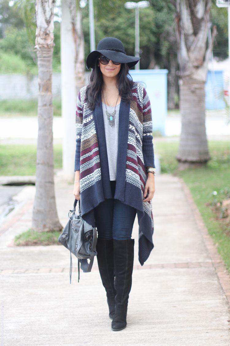523bb2798 look do dia chapéu inverno kimono de tricô borboletas na carteira