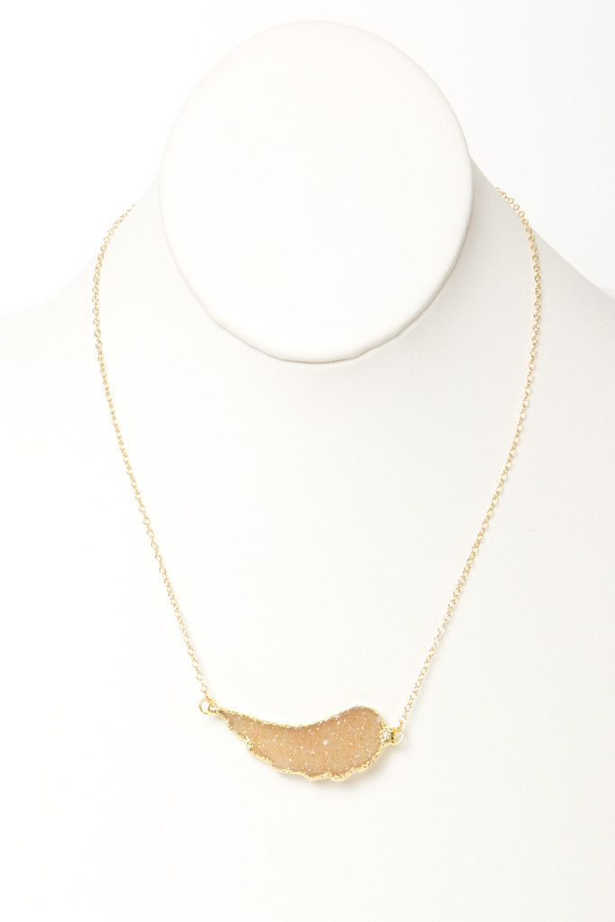 Winged Druzy Necklace in Champagne