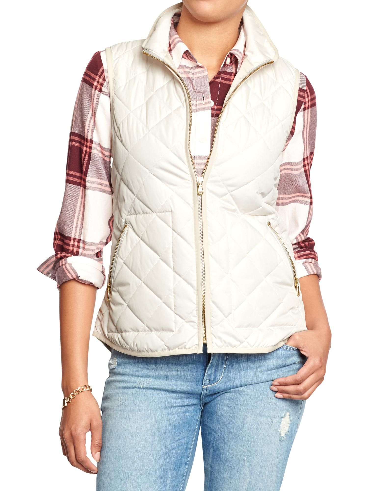 e8fbe93385282 Old Navy | Women's Quilted Zip-Front Vests | My Style | Fashion ...