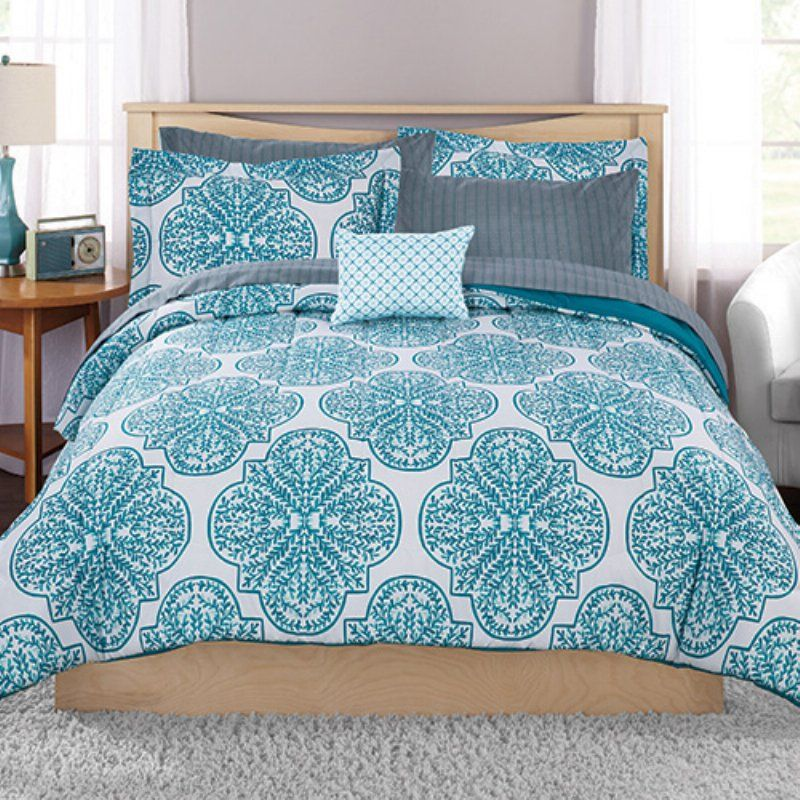 Painted Leaf Bed In A Bag By Mainstays Teal Bedding Sets