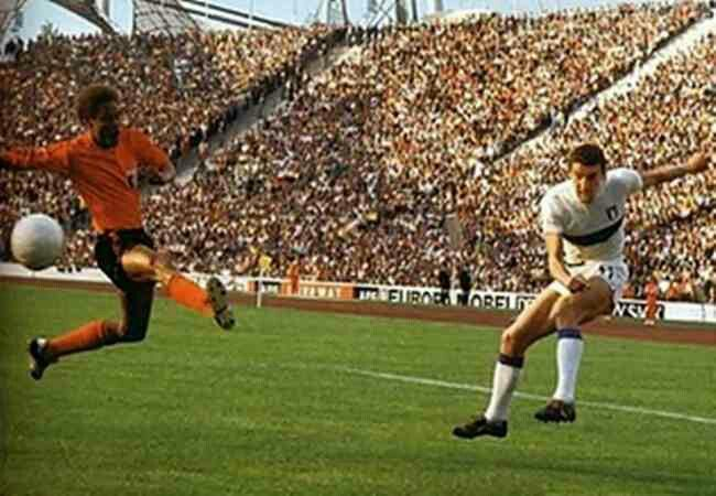 Italy 3 Haiti 1 in 1974 in Munich. Luigi Riva fires a shot into the side netting in Group 4 at the World Cup Finals.