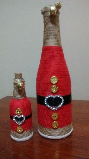 Garrafas wine bottle crafts pinterest botellas for Botellas de vidrio decoradas para navidad