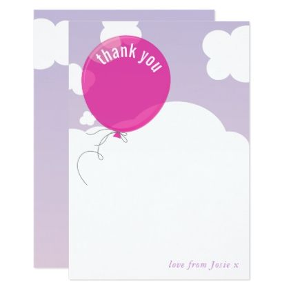 BOLD BALLOON Thank You Note Purple Sky Pink Card