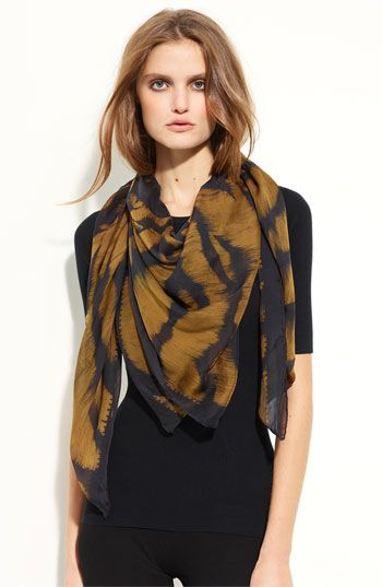 82b310b6440f Alexander McQueen  Siamese Tiger Skull  Silk Chiffon Scarf available at   Nordstrom