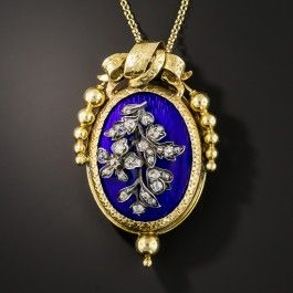 French Antique Blue Enamel Diamond Pendant/Brooch | Sparkling diamond, Necklace  designs and Overlays